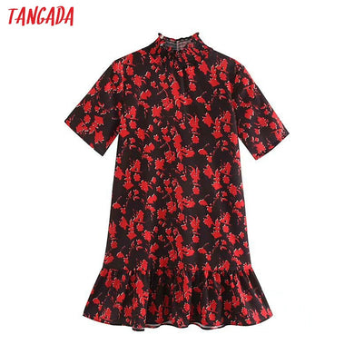 Tangada women floral pattern turtleneck mini dress short sleeve ladies casual wear loose dresses vestidos mujer 5Z77