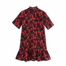 Load image into Gallery viewer, Tangada women floral pattern turtleneck mini dress short sleeve ladies casual wear loose dresses vestidos mujer 5Z77