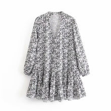 Load image into Gallery viewer, Tangada women dots print dress v neck long sleeve french fashion casual cozy loose dress vestidos feminina  3A29