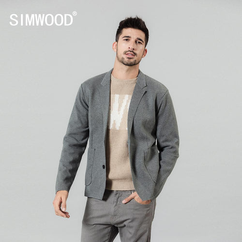 SIMWOOD 2019 autumn winter new cardigan blazer men casual knitwear plus size high quality jacket SI980695