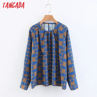 Tangada women plaid print shirts long sleeve o-neck ruffles button 2019 chiffon loose cozy brand female 3Z57