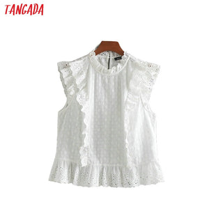 Tangada women cotton embroidery white blouse ruffles stand neck sleeveless boho chic summer shirt blusas femininas CE122