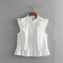 Load image into Gallery viewer, Tangada women cotton embroidery white blouse ruffles stand neck sleeveless boho chic summer shirt blusas femininas CE122