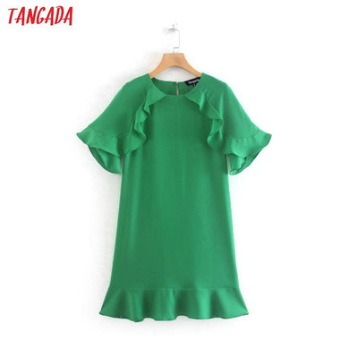 Tangada women elegant green dresses ruffles short sleeve O-neck vintage fashion pleated mini dress vestidos feminina XN293