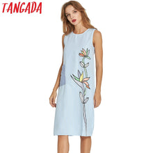 Load image into Gallery viewer, Tangada Fashion Women Floral Print Blue Dresses Striped Sleeveless O-Neck Sundress Dress 2017 Summer Casual Brand Vestidos SY83