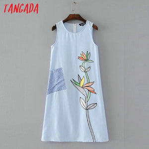 Tangada Fashion Women Floral Print Blue Dresses Striped Sleeveless O-Neck Sundress Dress 2017 Summer Casual Brand Vestidos SY83