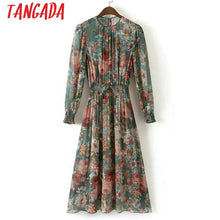 Load image into Gallery viewer, Tangada Fashion Women Floral Print Mid Dress Elastic Waist Long Sleeve O-neck Two Pieces Set Vintage Brand Vestidos XD40