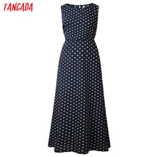 Load image into Gallery viewer, Tangada summer women maxi dress long korean style polka dot dress vintage ladies dresses sleeveless robe femme ete 2019 AON42