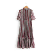 Load image into Gallery viewer, Tangada fashion women heart print pleated dress ruffles neck short sleeve sweet female casual dresses vestidos BE213