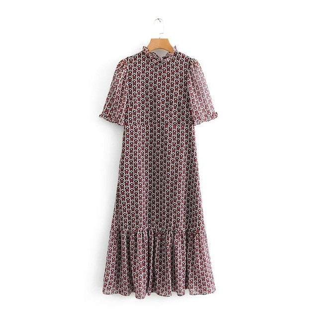 Tangada fashion women heart print pleated dress ruffles neck short sleeve sweet female casual dresses vestidos BE213
