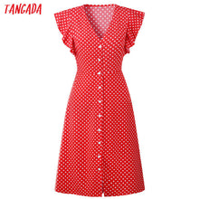 Load image into Gallery viewer, Tangada polka dot dress for women office midi dress 80s 2019 vintage cute A-line dress red blue ruffle sleeve vestidos AON08