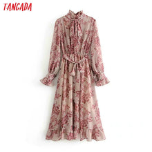 Load image into Gallery viewer, Tangada women flower print ruffle dress with belt vintage bow collar long sleeve pleated lady boho maxi dresses vestidos 5D25