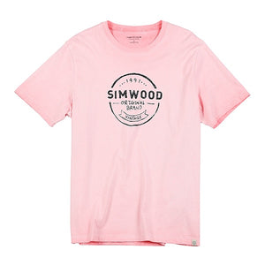 SIMWOOD 2019 summer new vintage 100% cotton t shirt men plus size letter print tshirt fashion top high quality t-shirt 190088