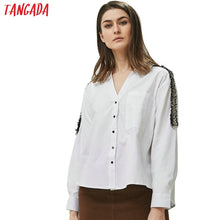 Load image into Gallery viewer, Tangada women side striped blouses office lady long sleeve turn down collar shirts white female tops blusas BE335