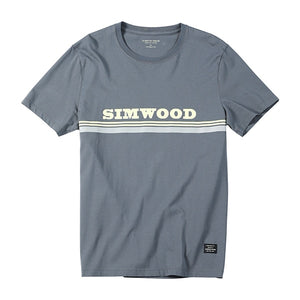 SIMWOOD 2019 Summer New 100% Cotton Fashion T-Shirt Men Print Fashion High Quality Tops Brand Clothing Tees 190131