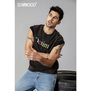 SIMWOOD summer t shirt men wash vintage tshirt letter print plus size fashion 100% cotton high quality brand clothing top 190220