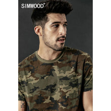 Load image into Gallery viewer, SIMWOOD 2019 summer new camouflage t shirt men ripped detail Skulls pattern t-shirt fashion Military style hip hop tshirt 190306