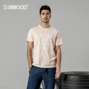 SIMWOOD 2019 summer new fashion letter print t shirt men vintgae 100% cotton tshirt Breathable top high quality t-shirt 190223