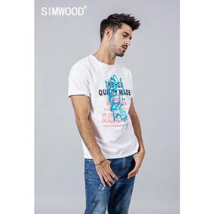 SIMWOOD 2019 summer new fashion letter print t shirt men 100% cotton tshirt casual o neck high quality brand clothing 190240