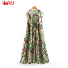 Load image into Gallery viewer, Tangada women ruffled floral print maxi dress short sleeve V neck button vintage female summer casual chiffon long dress SL349