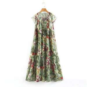 Tangada women ruffled floral print maxi dress short sleeve V neck button vintage female summer casual chiffon long dress SL349