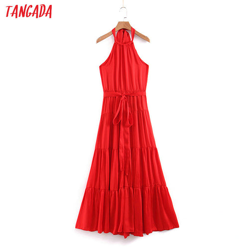 Tangada women sexy long dress red halter korean fashion 2019 backless sashes maxi party dresses vestidos QB162