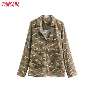Tangada women vintage blouse cartoon print fashion turn down collar long sleeve stylish 2019 office ladies shirt tops BE304