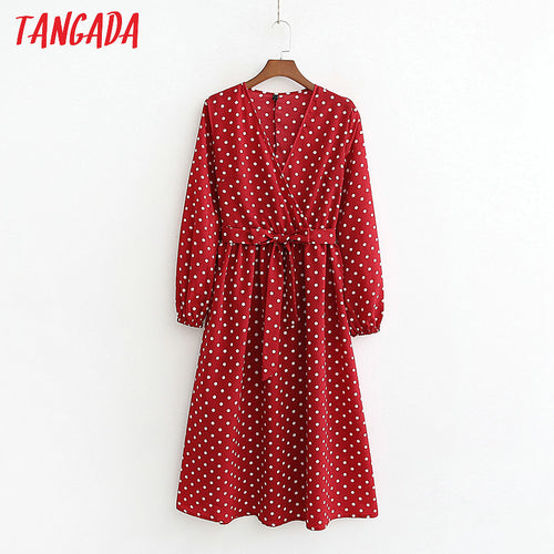 Tangada women red polka dot dresses v-neck lantern long sleeve 2019 casual sashes pleated ladies midi dress vestidos 1D114