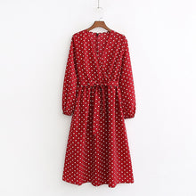 Load image into Gallery viewer, Tangada women red polka dot dresses v-neck lantern long sleeve 2019 casual sashes pleated ladies midi dress vestidos 1D114