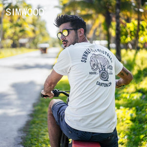 SIMWOOD 2019 summer new t shirt men carton print 100% cotton fashion top streetwear high quality tshirt 190155