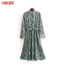 Load image into Gallery viewer, Tangada  women green shirt dress snake print vintage lady side open 2019 belt dress cozy female midi dress vestidos CC414