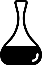 Simple geometric illustration of a wine decanter with a large bowl and pinched neck.