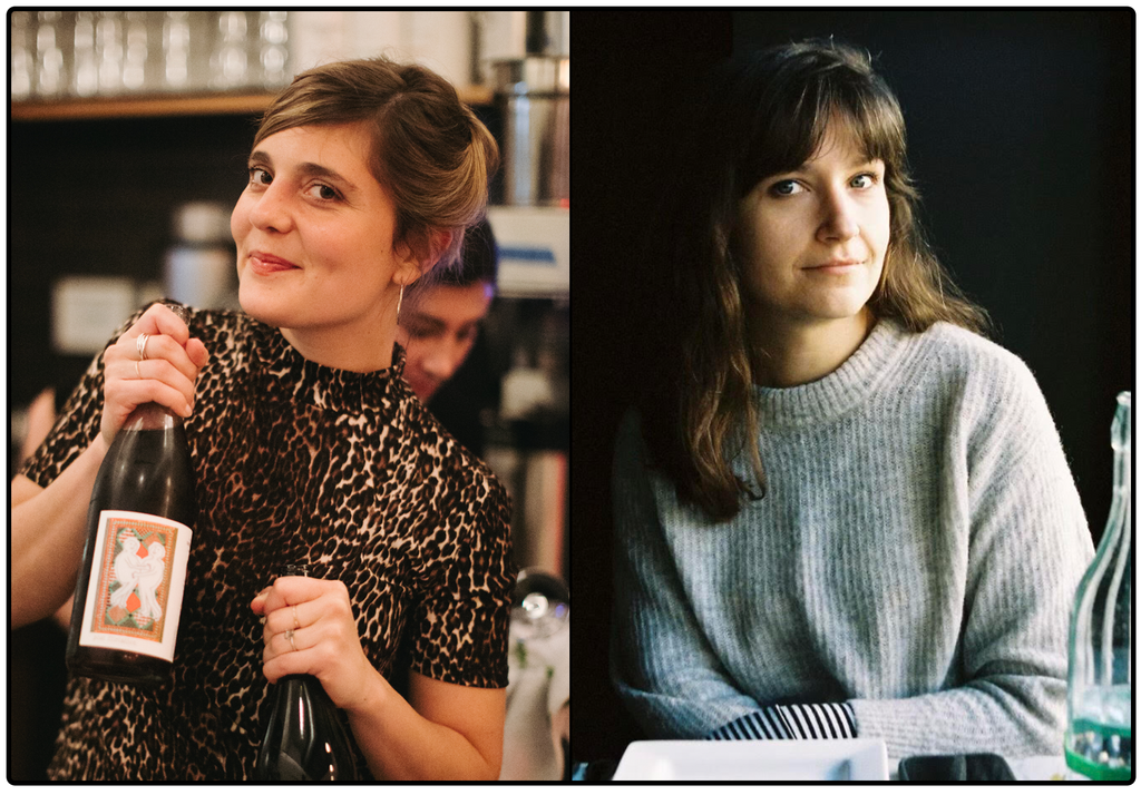 Two portraits of woman, side-by-side. On the left a young woman in an animal-print top holds a bottle of wine up while smiling a cheeky grin. On the right a woman with shoulder length brown hair and bangs, wearing a thin grey sweater, sits in dramatic lighting.