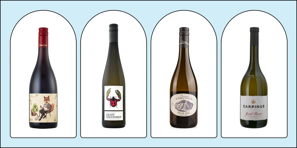 A line-up of January's wine selections.