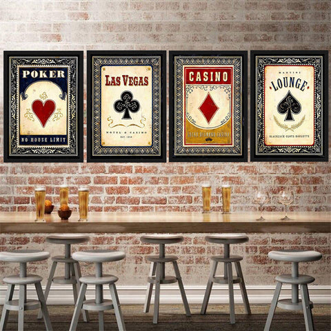Toile murale poker - cartes