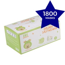 Load image into Gallery viewer, GREEN 3-Ply Children's Masks CARTON - Individually Wrapped - 60 Boxes of 30pc (1800 Masks)