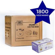 Load image into Gallery viewer, PURPLE 3-Ply Children's Masks CARTON - Individually Wrapped - 60 Boxes of 30pc (1800 Masks)
