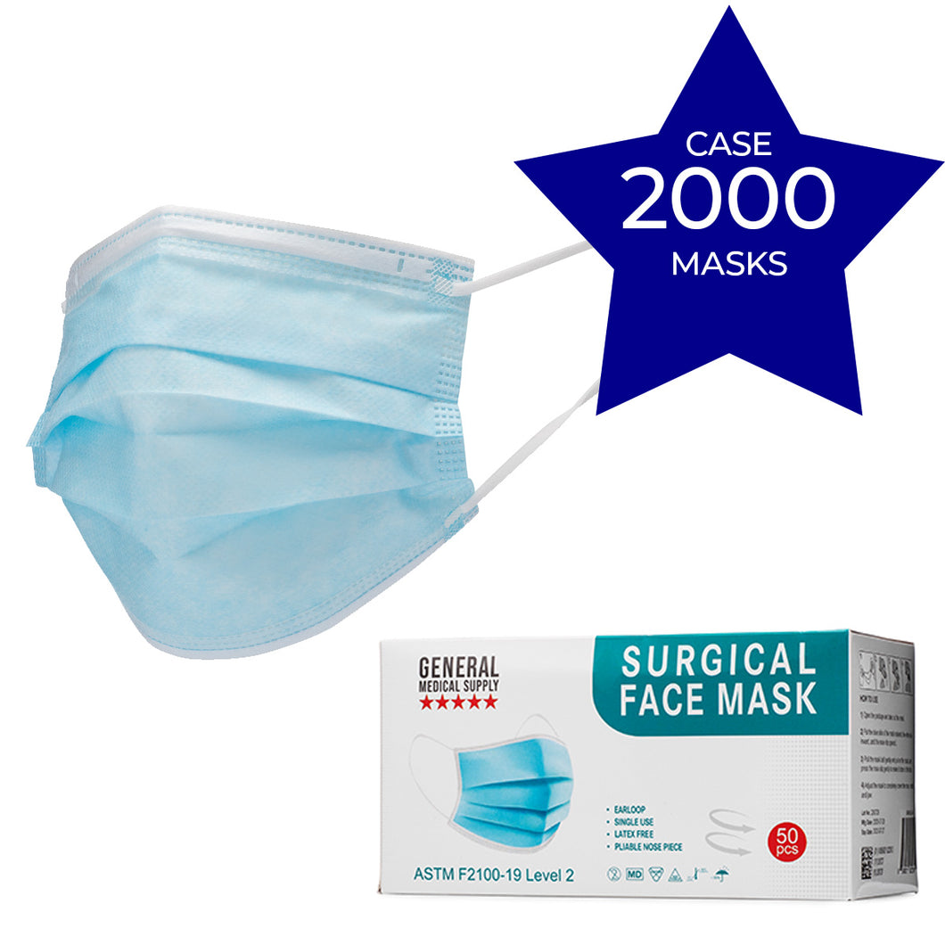 Surgical Face Masks, Level 2 - Case (2000pcs) (Ear Loops)