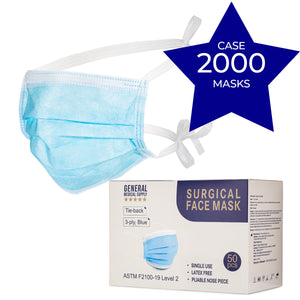 Surgical Face Masks, Level 2 - 2000pc (Tie-Back)-Case