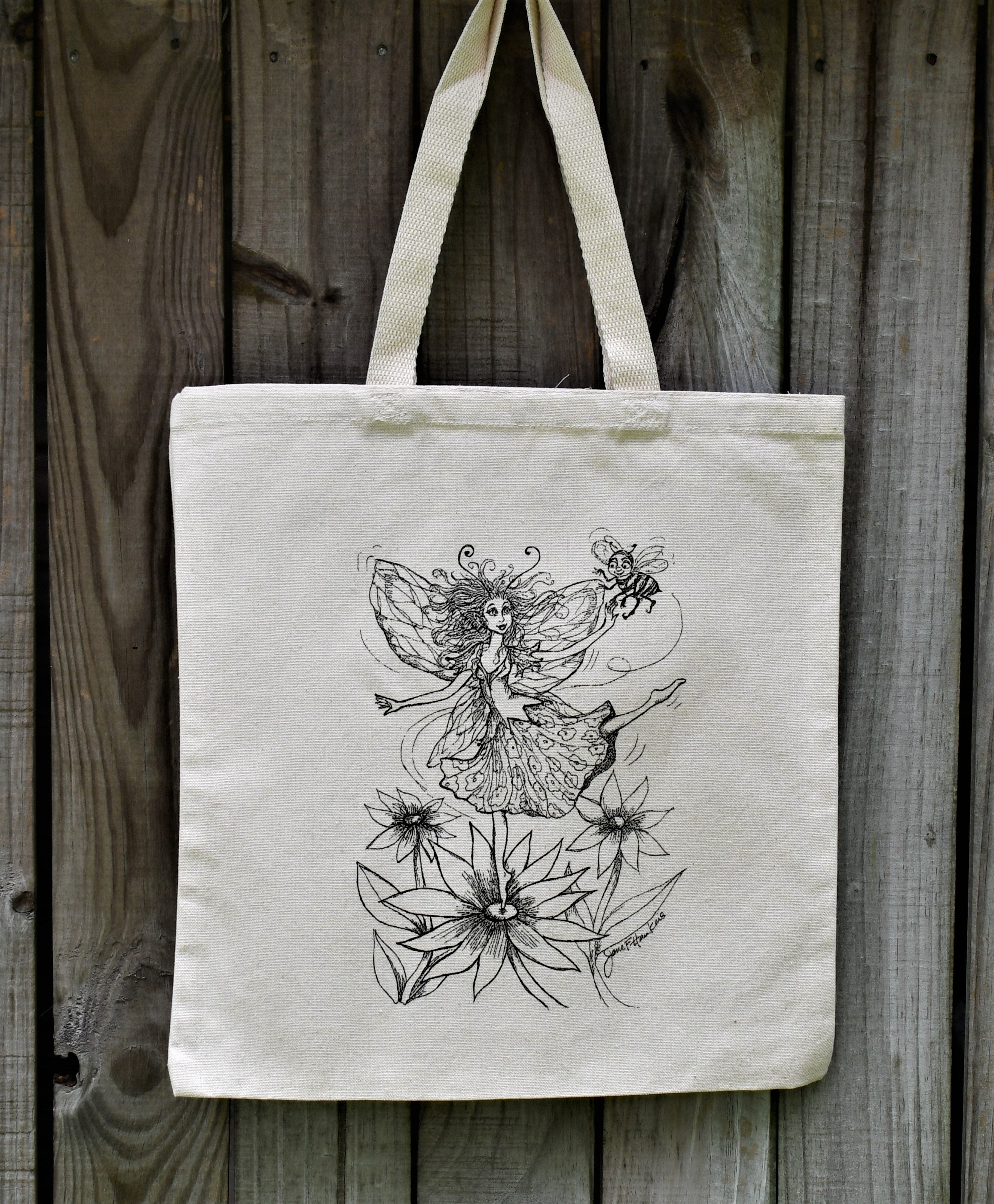 Fairy Dancing on the Flowers Tote Bag