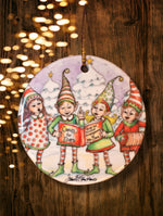Load image into Gallery viewer, Caroling Elves Ornament