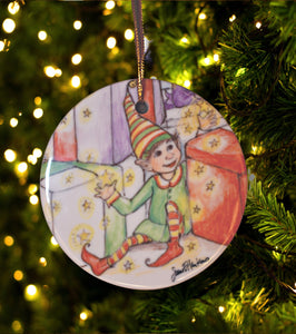 Elf with Presents Ornament