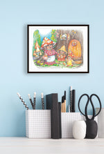 Load image into Gallery viewer, Print of Granny Mushroom Gnome by Jane F. Hankins
