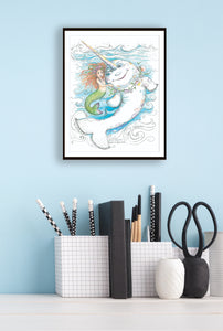Print of The Rainbow Narwhal by Jane F. Hankins