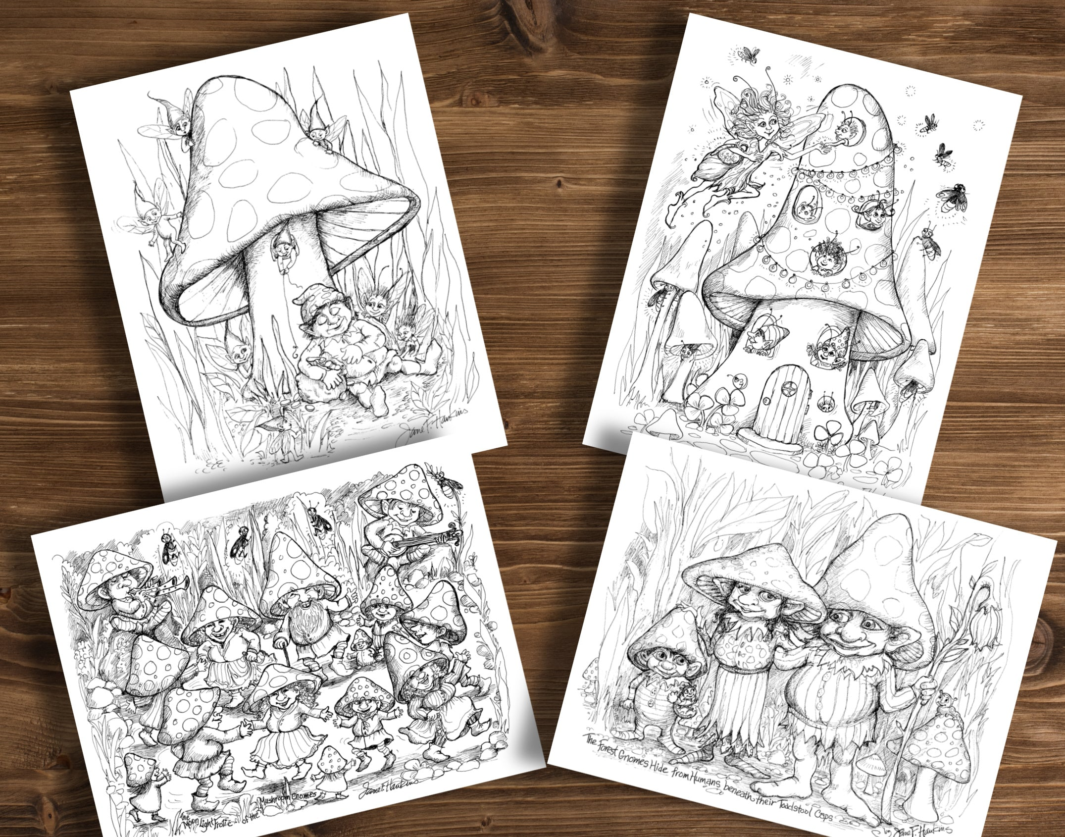 Marvelous Mushrooms and Gnomes Greeting Cards