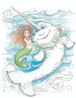 Load image into Gallery viewer, Print of The Rainbow Narwhal by Jane F. Hankins