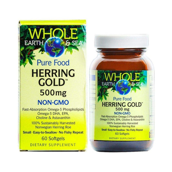 Natural Factors Whole Earth & Sea Herring Gold Gelcaps (Assorted Sizes)