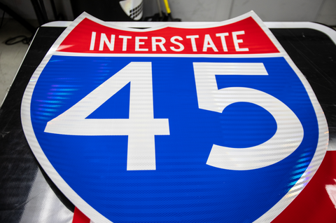Digitally printed Interstate Route Marker