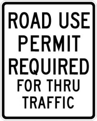 EM-5 Road Use Permit Required For Thru Traffic