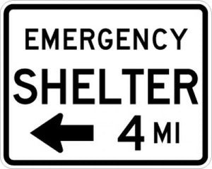 EM-7aL Emergency Shelter Left Arrow Distance